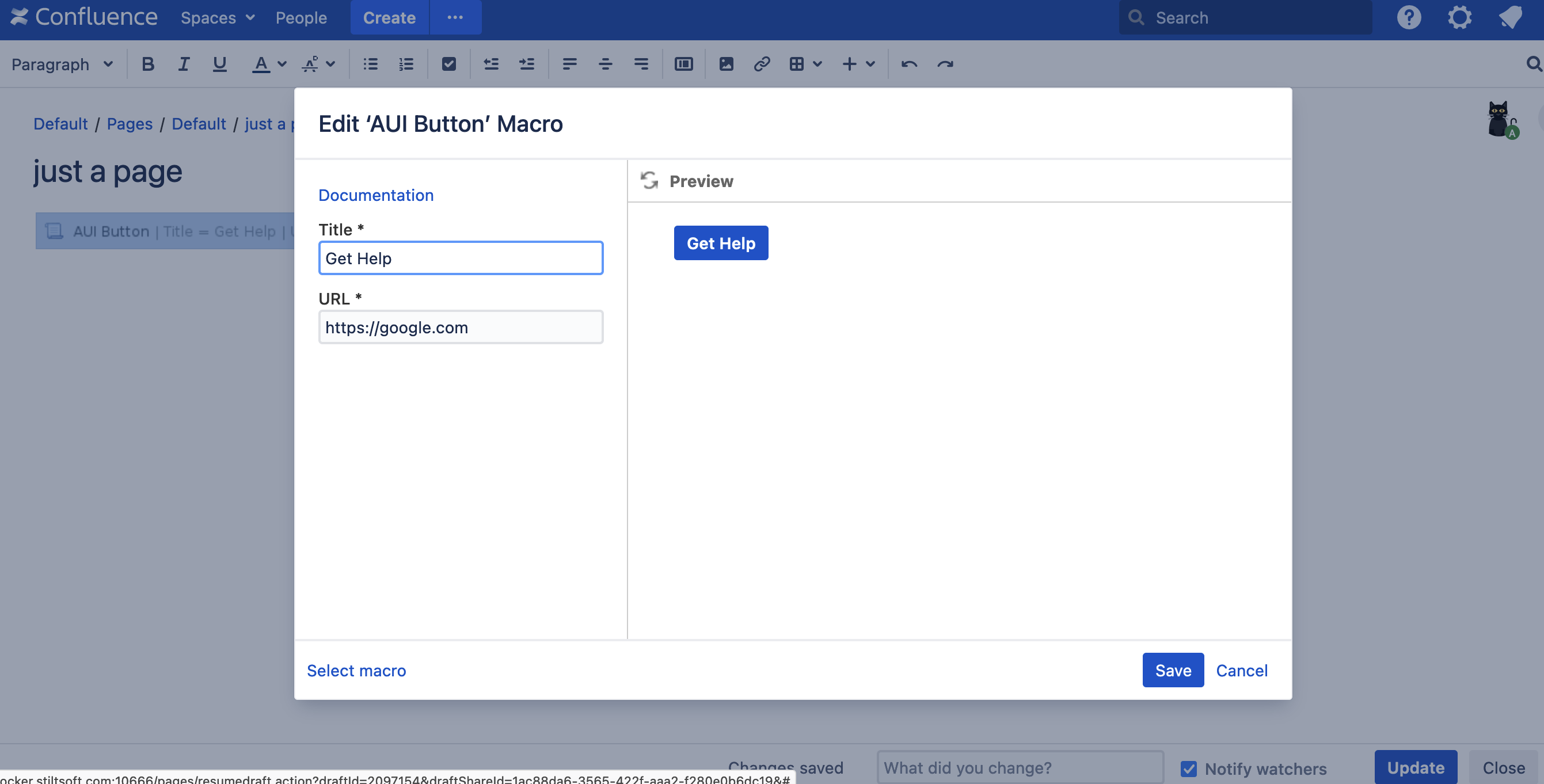 add button to Confluence page