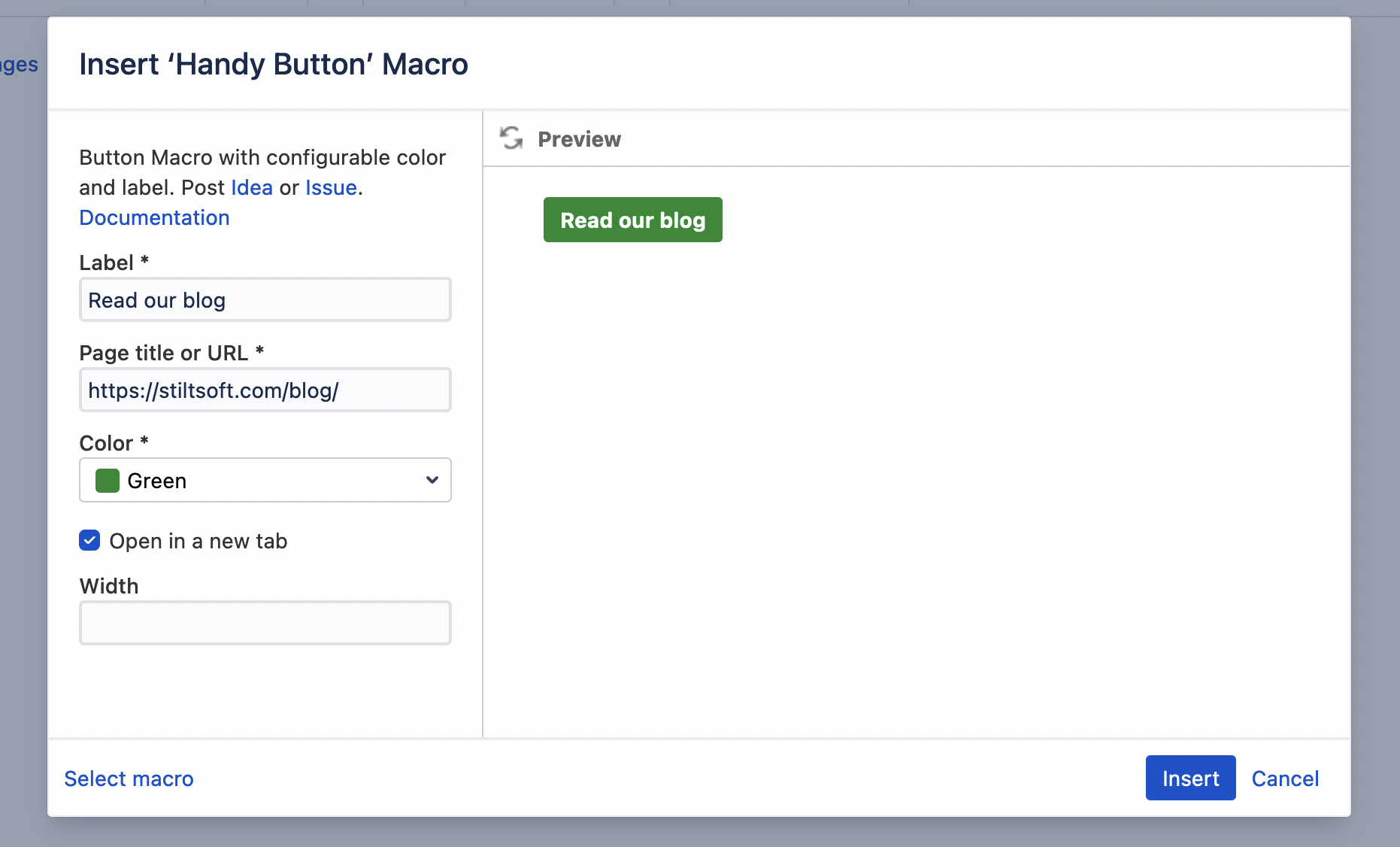 Handy Button in Confluence