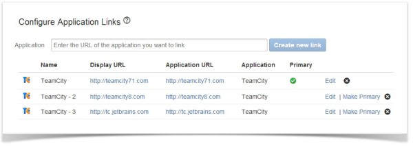 teamcity multiple application links