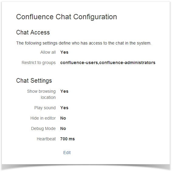 confluence chat configuration