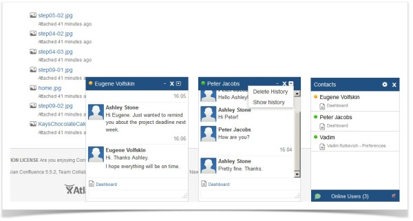 confluence chat dashboards