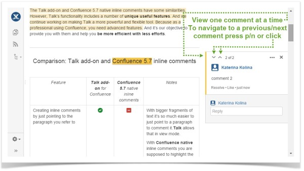 Native inline comments are displayed in 'view' mode on the right-hand sidebar only one inline comment at a time