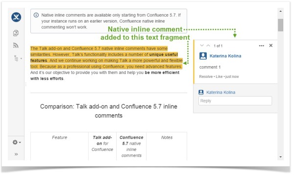 Confluence inline comment added to a text fragment