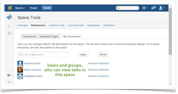 Talk - Setting up default Space comments viewing permissions