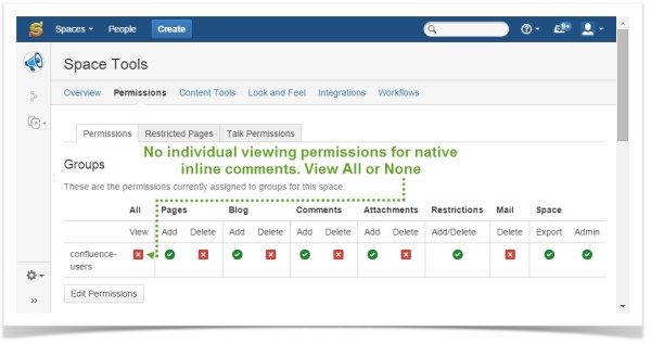 Confluence - No individual viewing persmissions for native inline comments