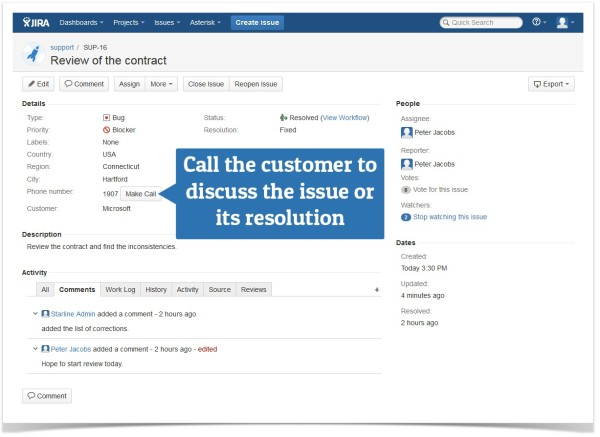 JIRA view issue screen to make a call customer