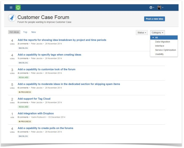 customer case idea list