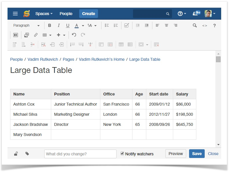 Efficiently manage and visualize tables in Confluence