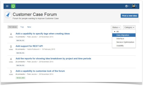 customer_case_feedback_forum_idea_listing