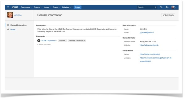 Relations for JIRA-Contact-Contact Information