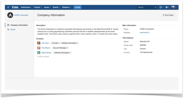 .Relations for JIRA-Company-Company Information