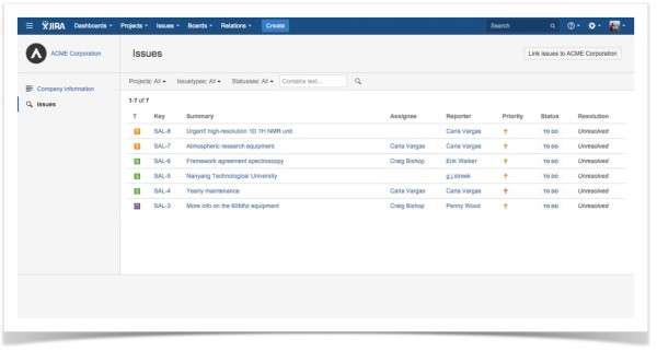 Relations for JIRA-Company-Issues
