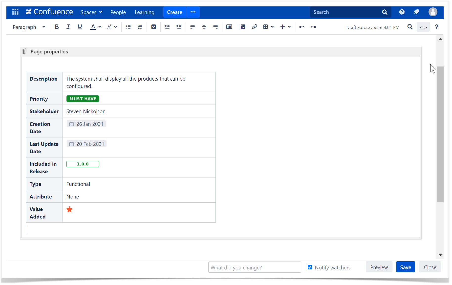 A table located inside the page properties macro