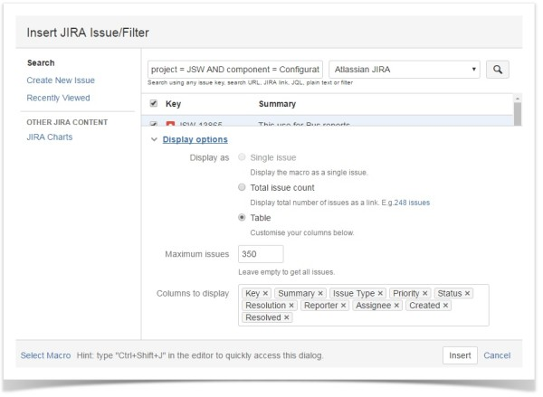 confluence_jira_issue_macro_display_options_setup