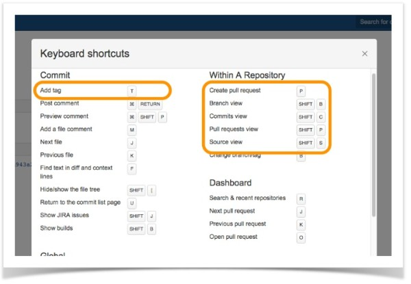 Keyboard Shortcuts for Bitbucket
