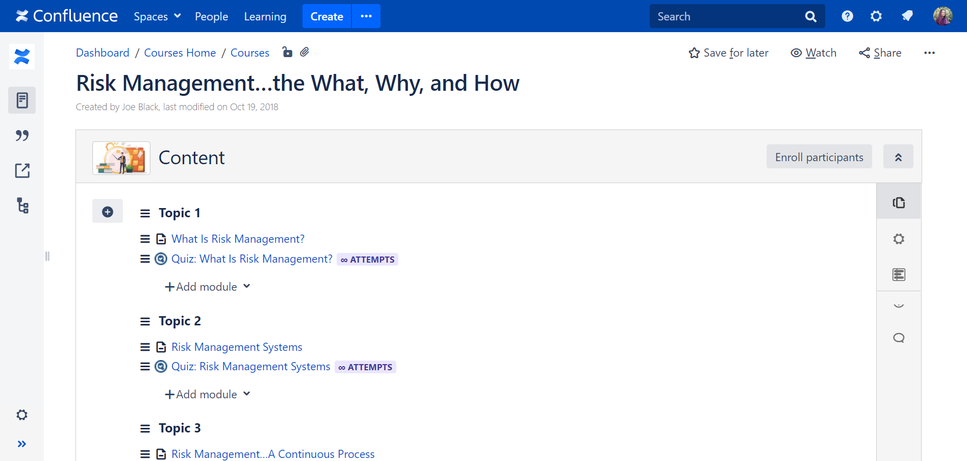 training material in Atlassian Confluence