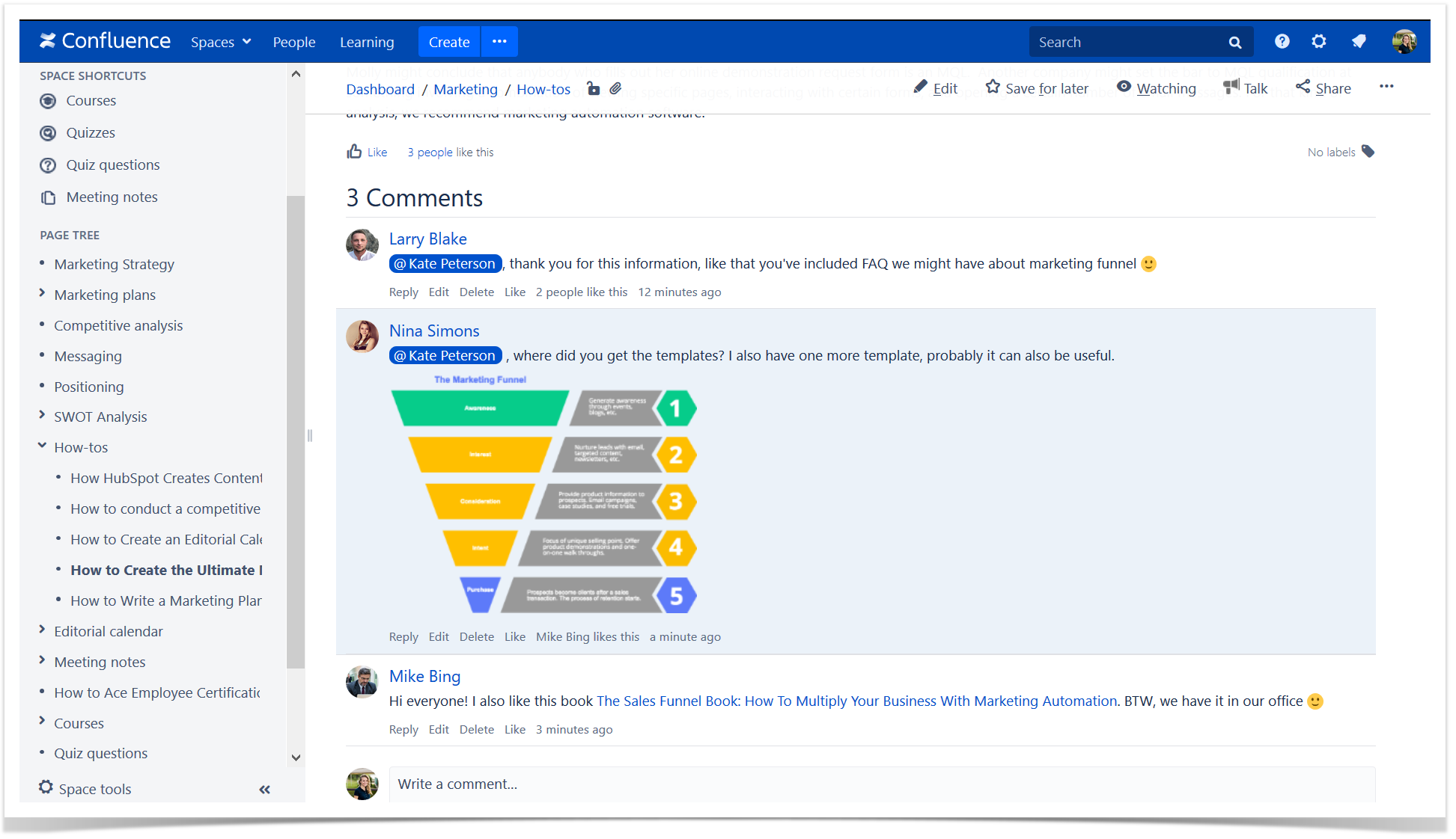 comments in Confluence