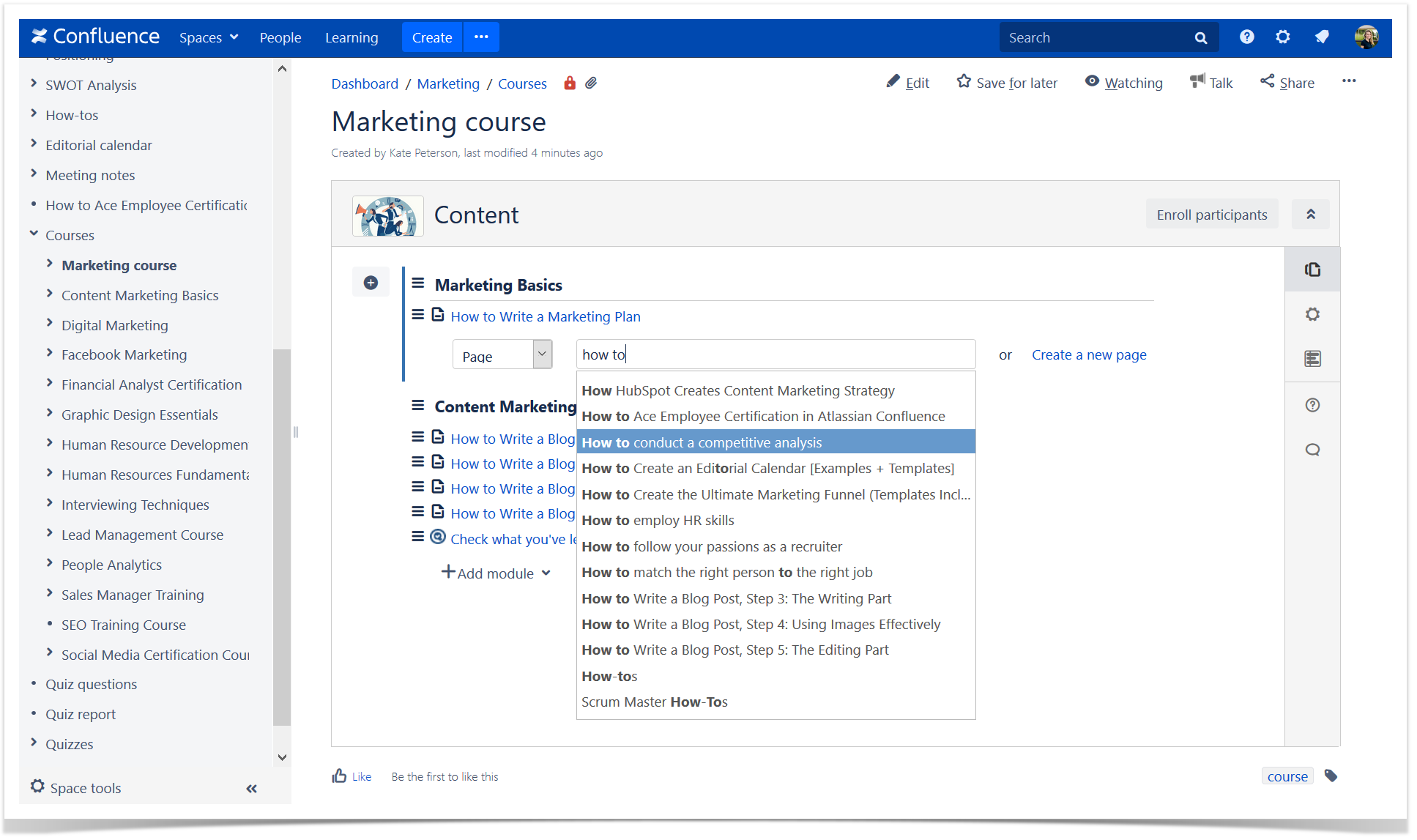 create courses in Confluence