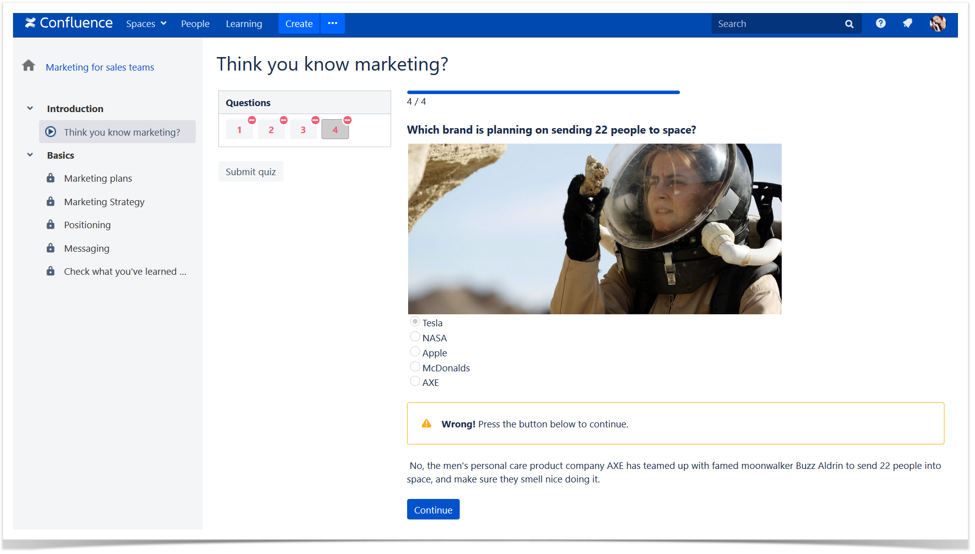 check knowledge in Confluence