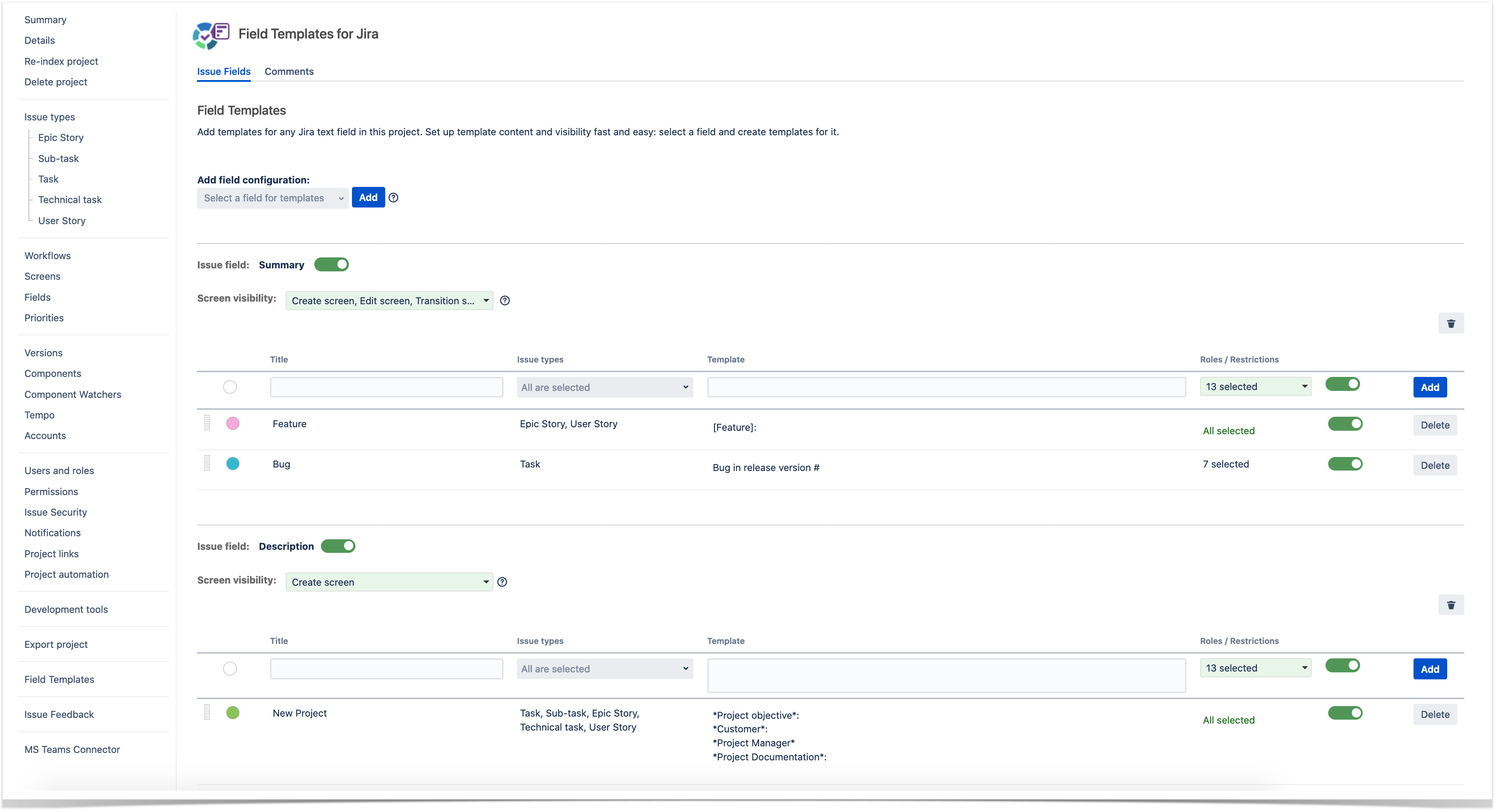 best practices for creating a jira issue with templates