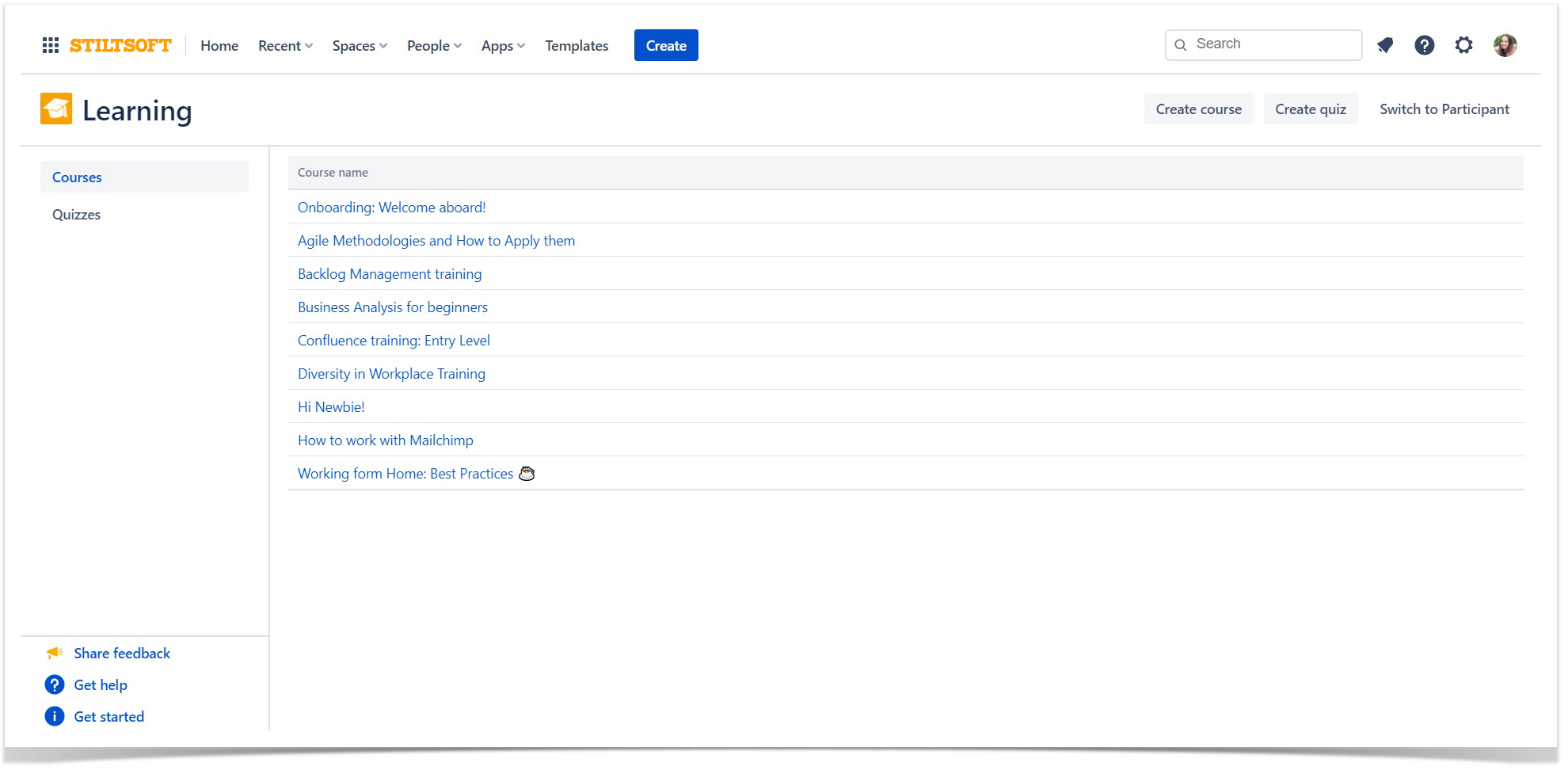 create courses, quizzes, and tests right in Confluence