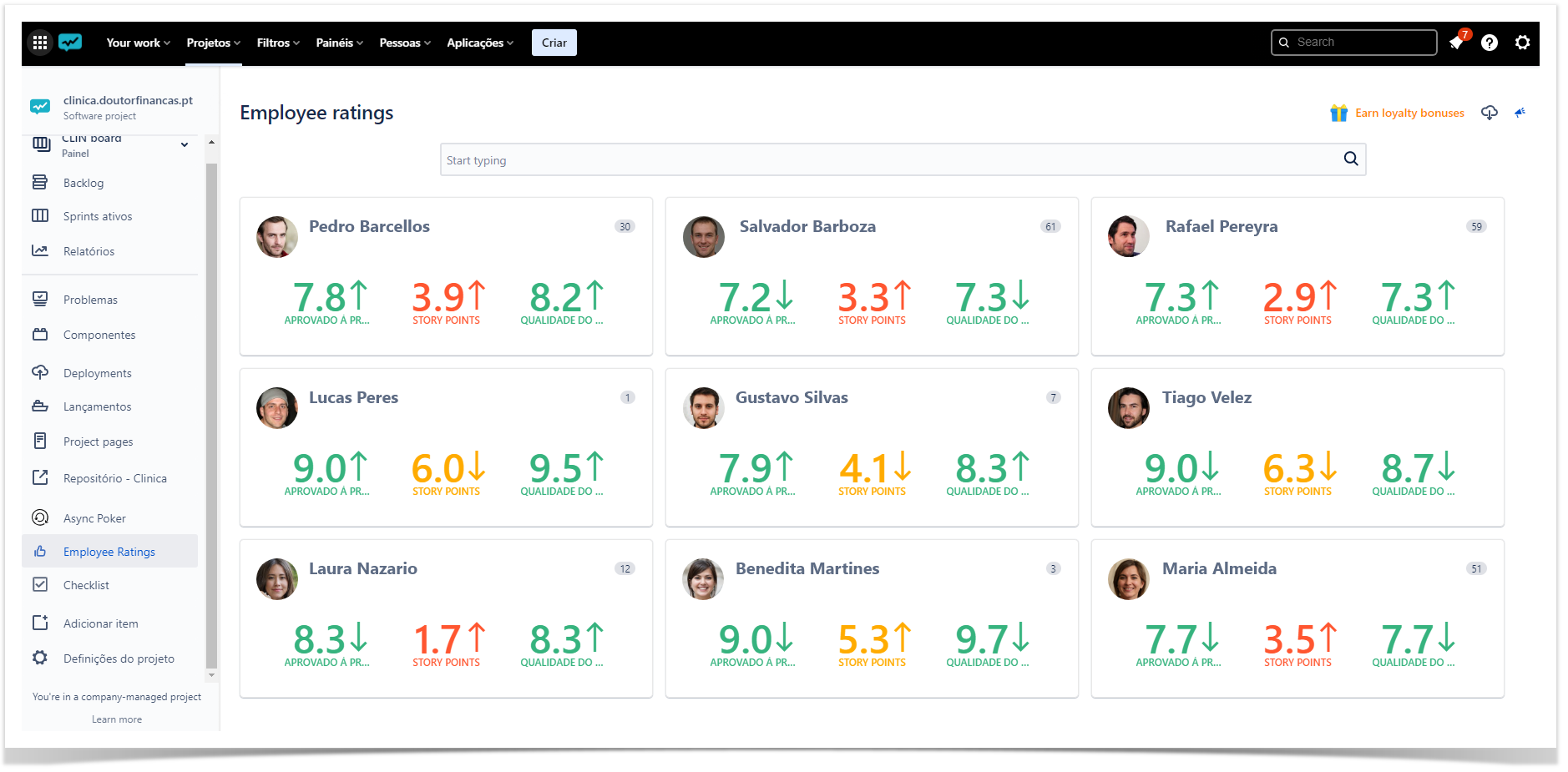 evaluate performance of developers in Jira Cloud